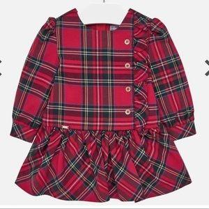 Mayoral red tartan plaid drop waist dress sz 3